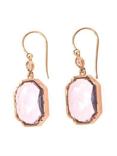 Irene Neuwirth Diamond, Rose de France & gold earrings