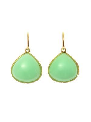 Chrysoprase and yellow-gold earrings