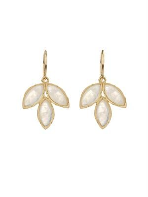 Rainbow moonstone & yellow-gold earrings