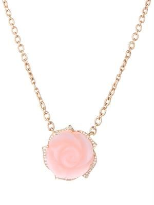 Diamond, pink-opal & gold necklace