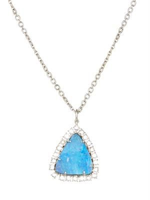Diamond, boulder-opal & gold necklace