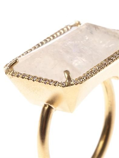 Irene Neuwirth Diamond, moonstone & gold ring