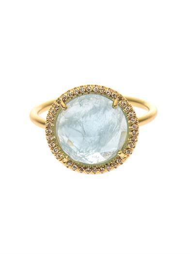 Irene Neuwirth Diamond, aquamarine & yellow-gold ring