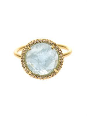 Diamond, aquamarine & yellow-gold ring