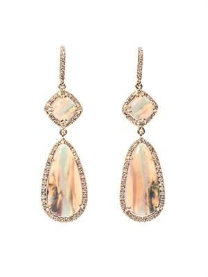 Diamond, opal & pink-gold earrings