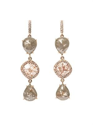 Organic diamond & pink-gold earrings