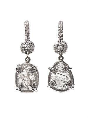 Diamond-slice & white-gold earrings