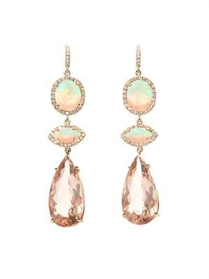 Diamond, morganite, opal & gold earrings