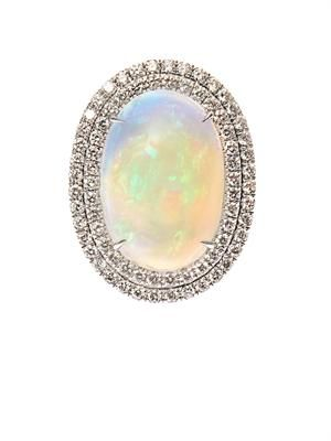 Diamond, opal & white-gold ring