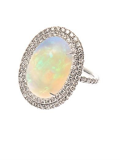 Nsr Nina Runsdorf Diamond, opal & white-gold ring