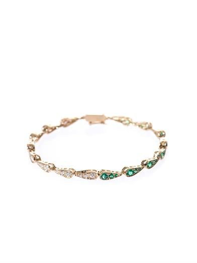 Sabine G White-diamond, emerald & gold bracelet