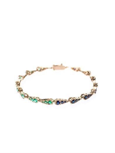 Sabine G Blue-sapphire, emerald & gold bracelet