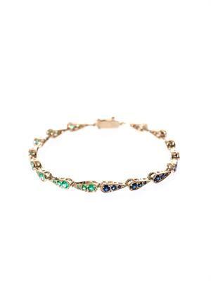 Blue-sapphire, emerald & gold bracelet