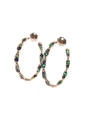 Diamond, sapphire, emerald & gold earrings