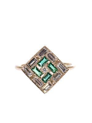 White diamond, emerald & white-gold ring