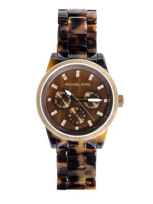Tortoiseshell triple chronograph watch