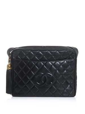 Quilted leather tassel bag