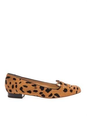 Kitty leopard calf-hair flats