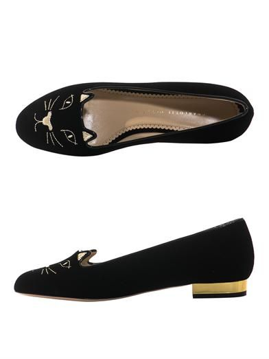 Charlotte Olympia Velvet Kitty slippers