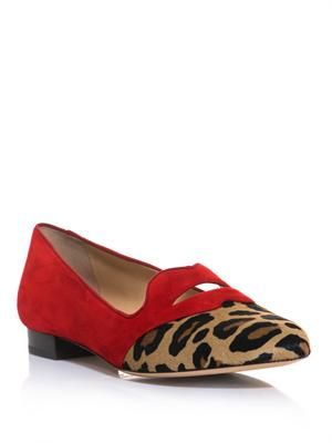 Bisoux suede and leopard-print slippers