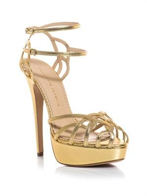 Ursula metallic leather strappy sandals
