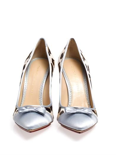 Charlotte Olympia Grace satin and calf-hair shoes