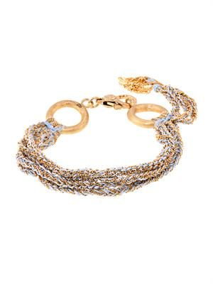 Gold and silk five-strand Lucky bracelet