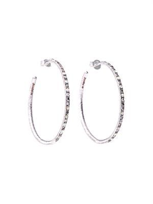 Diamond & opal embellished white gold hoop earrings