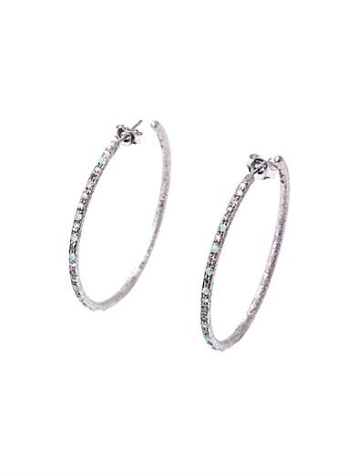Carolina Bucci Diamond & opal embellished white gold hoop earrings