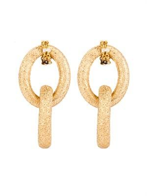 Yellow-gold sparkly double-link earrings
