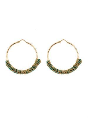 Silk & yellow-gold braided hoop earrings