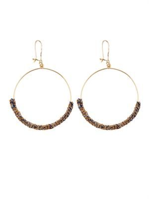 Gold and woven silk hoop earrings