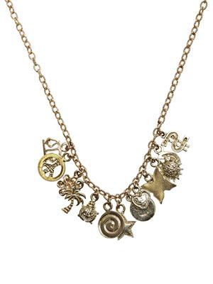 Yellow gold lucky charms necklace