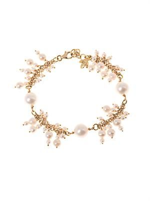 Gold and pearl cluster bracelet