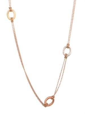 Pink, yellow & white-gold sparkly-link necklace