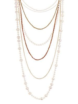 Pearl & gold seven-strand necklace