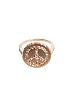 Diamond & gold peace ring