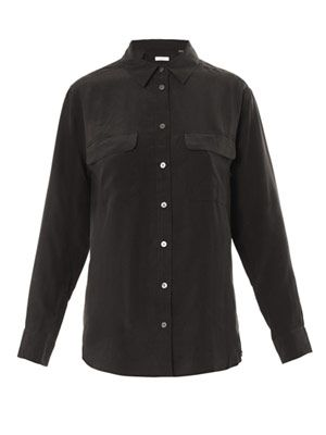 Signature washed silk shirt