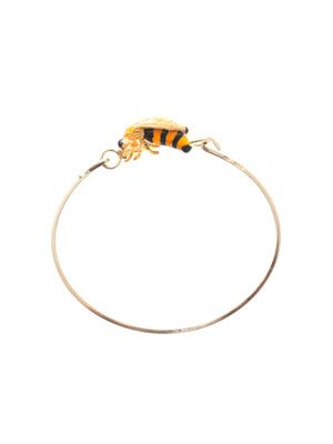 Enamel bee and yellow gold bracelet