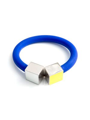 Enamel, silver  and rubber bracelet