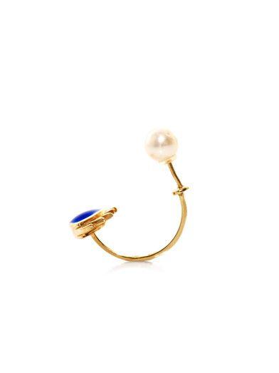 Delfina Delettrez Gold, pearl & enamel eye single earring