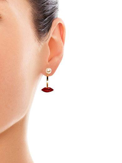 Delfina Delettrez Gold, pearl & enamel lip single earring