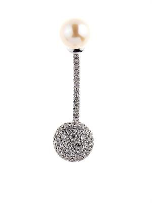 Diamond & pearl single earring