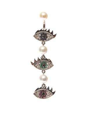 Diamond, sapphire & gold single earring
