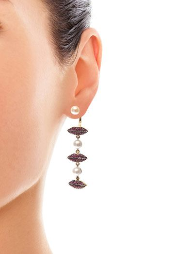 Delfina Delettrez Ruby, pearl & gold single earring