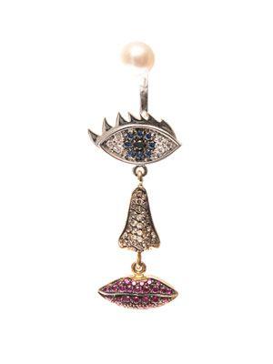 Diamond, ruby & white-gold single earring