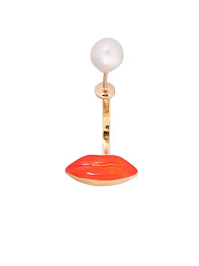 Delfina Delettrez Pearl, gold and enamel single earring