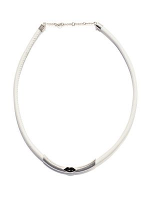 Silver, enamel & leather necklace