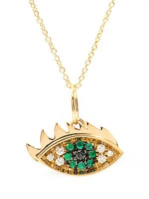 Diamonds, emerald & gold eye necklace