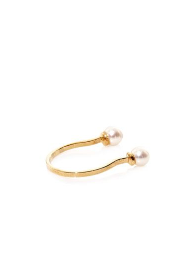 Delfina Delettrez Double-pearl yellow-gold ring
